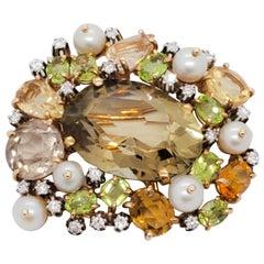 Estate Seaman-Schepps Diamond, Pearl, and Color Stone Cluster Brooch