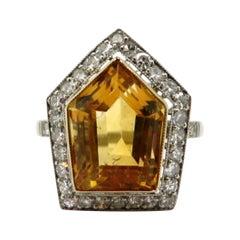 Estate Shield Shaped Citrine and Diamond Halo Platinum Art Deco Style Ring