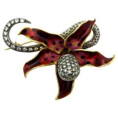 Estate Silver and 14 Karat Enameled 2.00 Carat Diamond Flower Pin/ Brooch
