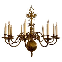 Estate Solid Brass Dutch Style Chandelier, circa 1950s