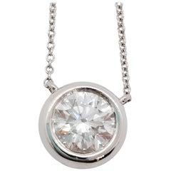 Estate Solitaire White Diamond Round Pendant Necklace in 14 Karat White Gold