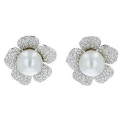 Estate South Sea Pearl and Diamond Pave Flower Earrings