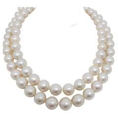 Estate South Sea White Pearl Strand with Diamond Clasp in 18k White Gold