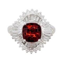 Estate Spessartite Garnet and White Diamond Cocktail Ring in Platinum