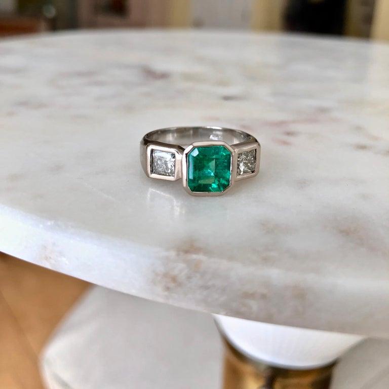 Emerald Cut Estate Square Fine Colombian Emerald Diamond Ring White Gold 18 Karat For Sale