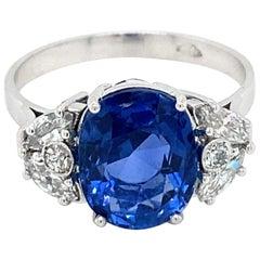 Estate SSEF Certified 4.40 Carat Unheated Sapphire Diamonds Platinum Ring