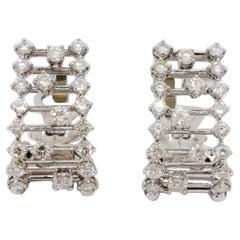 Estate Stefan Hafner White Diamond Earrings in 18k White Gold