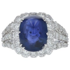 Estate Sugar-Loaf Sapphire and Diamond Cocktail Ring