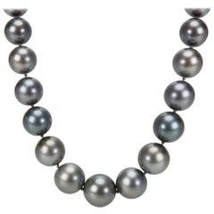 Estate Tahitian Black Pearl Necklace