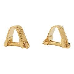 Estate Textured Yellow Gold Stirrup Cufflinks
