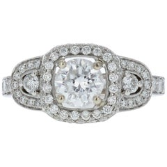 Estate Three-Stone Diamond Engagement Ring with Diamond Halos