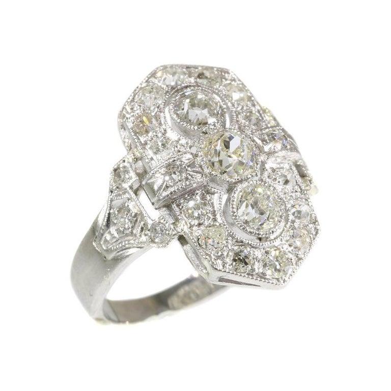 Platinum Engagement Rings Sale Uk: Estate Three-Stone Diamond Platinum Art Deco Engagement