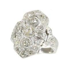 Estate Three-Stone Diamond Platinum Art Deco Engagement Ring