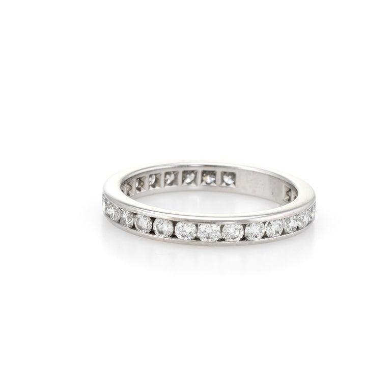 554fffba7 Modern Estate Tiffany & Co. 1 Carat Diamond Wedding Band Platinum Wide Ring  For Sale