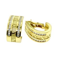 Estate Tiffany & Co. Diamond Yellow Gold Atlas Half Hoop Roman Numeral Earrings