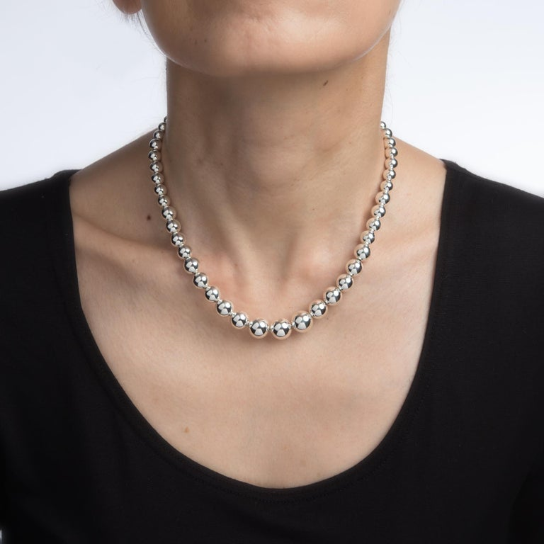 2f8c96f1d Finely detailed pre owned Tiffany & Co bead necklace, crafted in 925 sterling  silver.