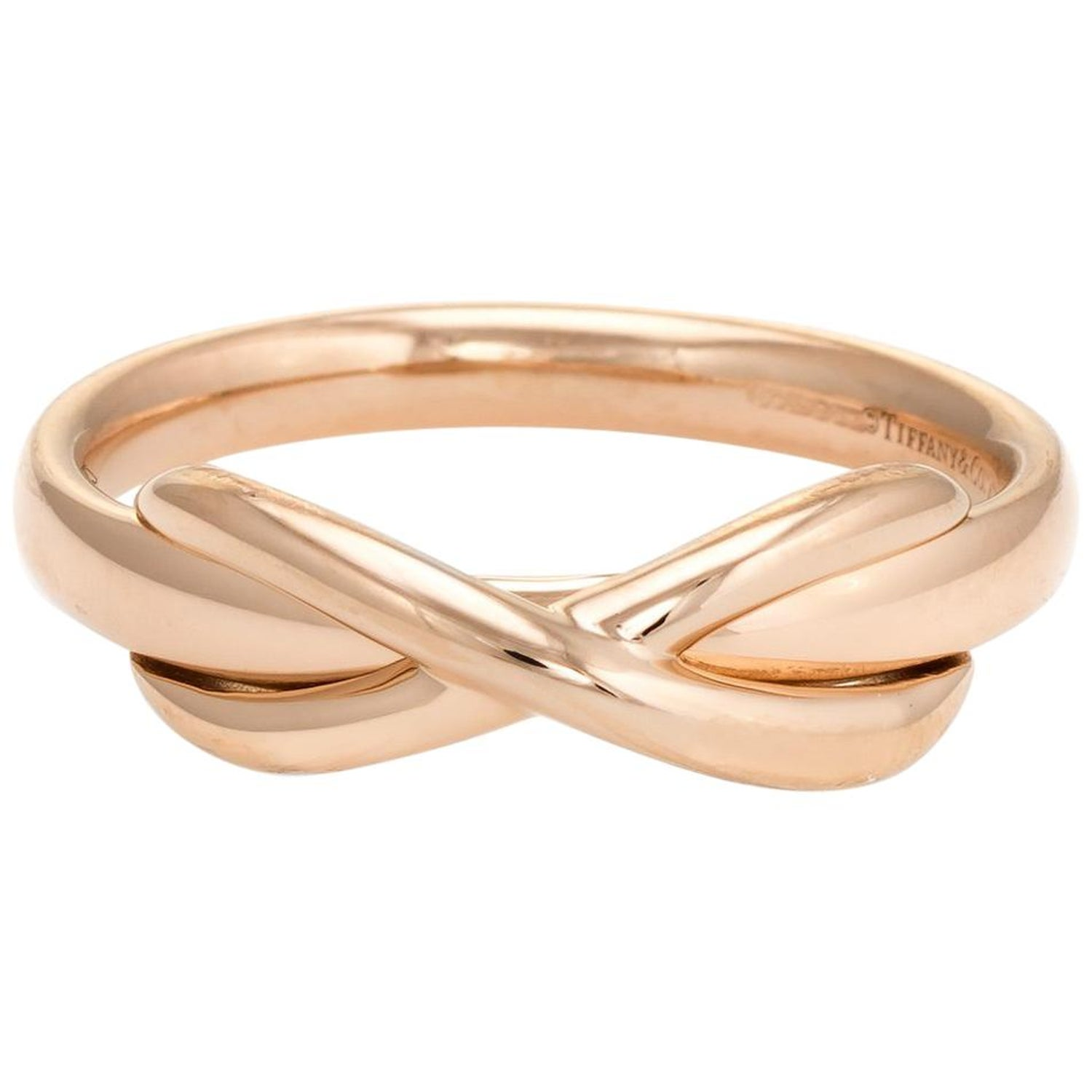 f0664750e Estate Tiffany and Co. Infinity Ring 18 Karat Rose Gold Designer Jewelry at  1stdibs