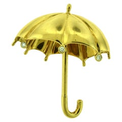 Estate Tiffany & Co. Large Diamond Umbrella Brooch Pin in Yellow Gold
