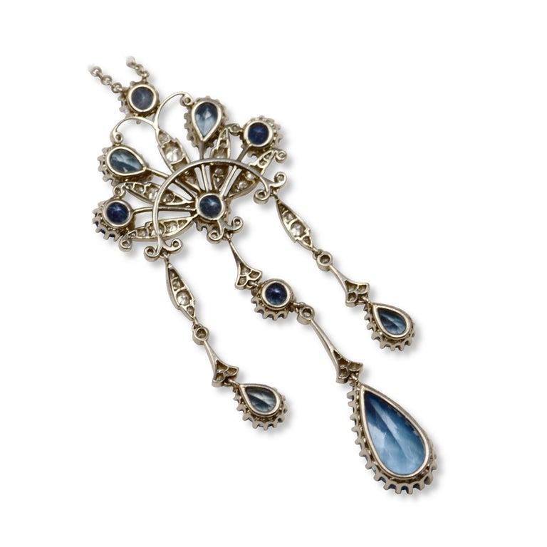 Edwardian Estate Tiffany & Co. Peacock Diamond & Aquamarine Platinum Necklace For Sale