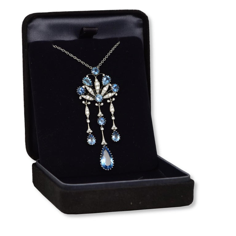 Estate Tiffany & Co. Peacock Diamond & Aquamarine Platinum Necklace In Good Condition For Sale In Miami, FL