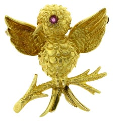 Estate Tiffany & Co. Vintage Bird Brooch in Yellow Gold with Ruby Eye