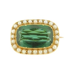 Estate Tourmaline Cultured Pearl and Gold Pin
