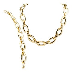 Estate Transformable Yellow Gold Link Bracelet Necklace Set