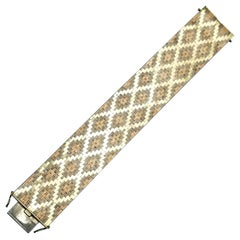 Estate Tri-Colored Wide Cuff Bracelet in 14 Karat Yellow, White and Rose Gold