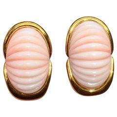 Estate Trio Designer 14 Karat Carved Angel Skin Coral Drop Clip Earrings