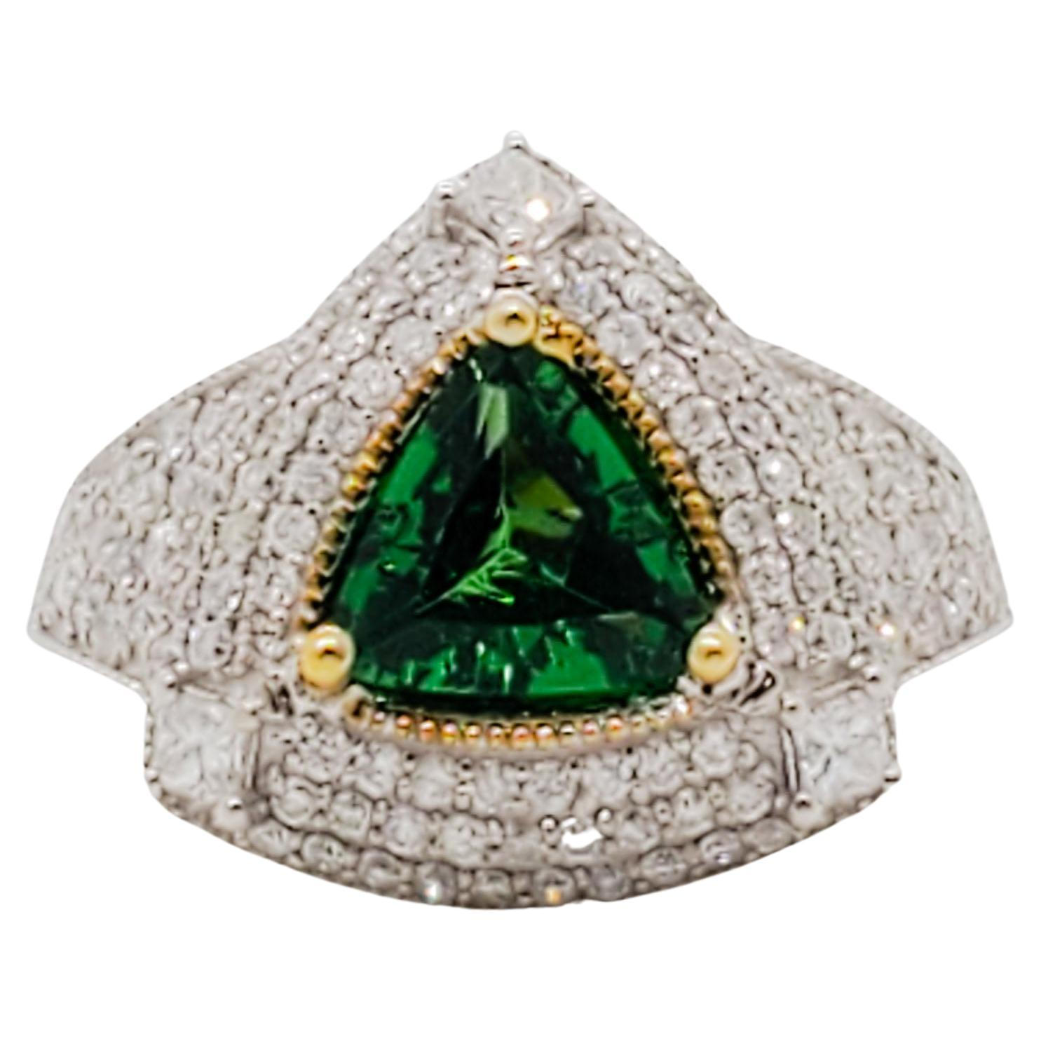 Estate Tsavorite and Pave Diamond Cocktail Ring in 14k Gold