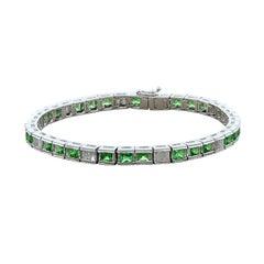 Estate Tsavorite Diamond Gold Bracelet