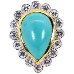 Estate Turquoise and Diamond Gold Ring