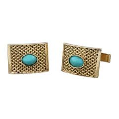 Estate Turquoise Gold Cufflinks