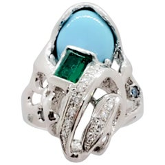 Estate Turquoise Oval, Emerald and Diamond Ring in Platinum