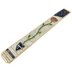Estate  Rose Flower Multi Gem 18 Karat Yellow Gold Diamond Bracelet