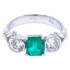 Estate Untreated Colombian Emerald Gold Three-Stone Ring