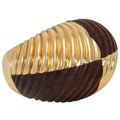 Estate Van Cleef & Arpels, France Carved Wood and Gold Bombé Style Ring