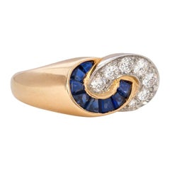 Estate Van Cleef & Arpels Gold Sculptural Ring with Sapphires and Diamonds