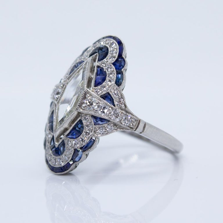 Estate Vintage Antique Sapphire and Diamond Shield Ring For Sale 1