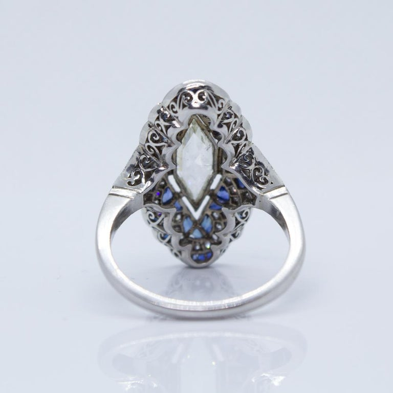 Estate Vintage Antique Sapphire and Diamond Shield Ring For Sale 2