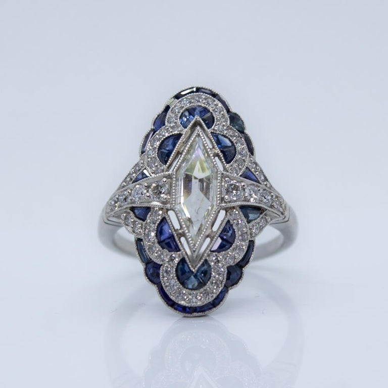 Estate Vintage Antique Sapphire and Diamond Shield Ring For Sale 4