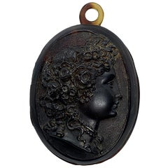 Estate Victorian Carved Tortoise Shell Cameo Mourning Locket, circa Mid-1800s