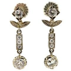 Estate Victorian Style 14 Karat White Gold Flower Diamond Dangle Earrings