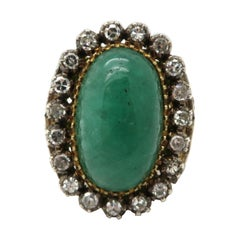 Estate Victorian Style 14K Two-Tone Gold and Silver Emerald and Diamond Ring