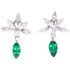 Estate Vintage 14 Karat Gold Emerald VS Diamond Dangle Earrings
