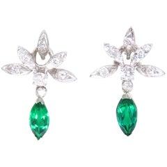 Estate Vintage 14 Karat Gold Emerald VS Diamond Dangle Pierced Earrings