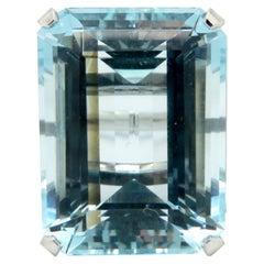 Estate Vintage 14 Karat White Gold Large Emerald Cut Aquamarine Ring