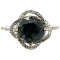 Estate Vintage 18 Karat White Gold Flower Round Sapphire and Diamond Ring