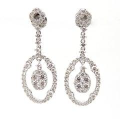 Estate Vintage 18 Karat White Gold Round Diamond Dangle Drop Earrings