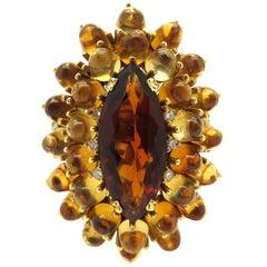 Estate Vintage 18 Karat Yellow Gold 15.00 Carat Brazilian Citrine Fashion Ring
